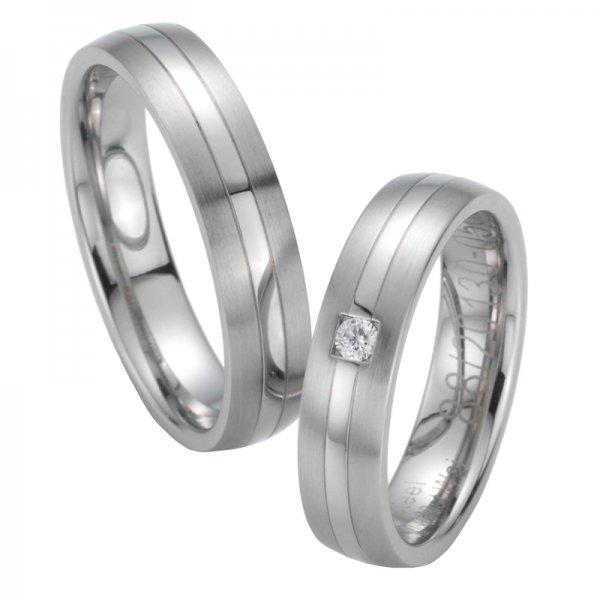 Snubní prsteny ocelové a diamantem ST20130