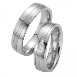 Snubní prsteny ocelové s diamanty ST20090