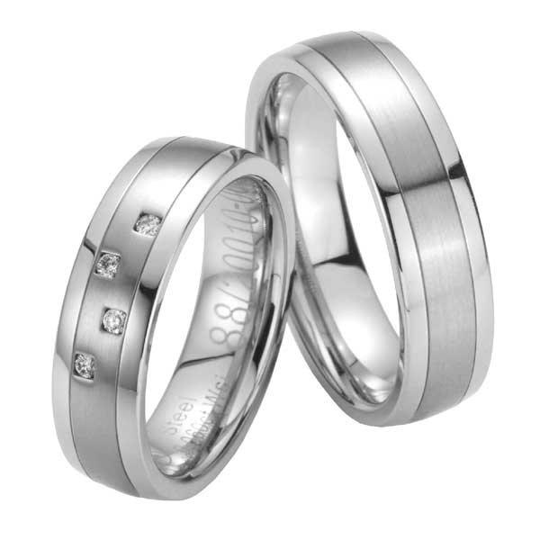 Ocelové snubní prsteny s diamanty ST20010