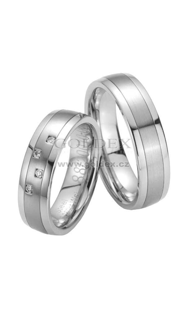 c6cae0934 Ocelové snubní prsteny s diamanty ST20010 : Goldex.cz