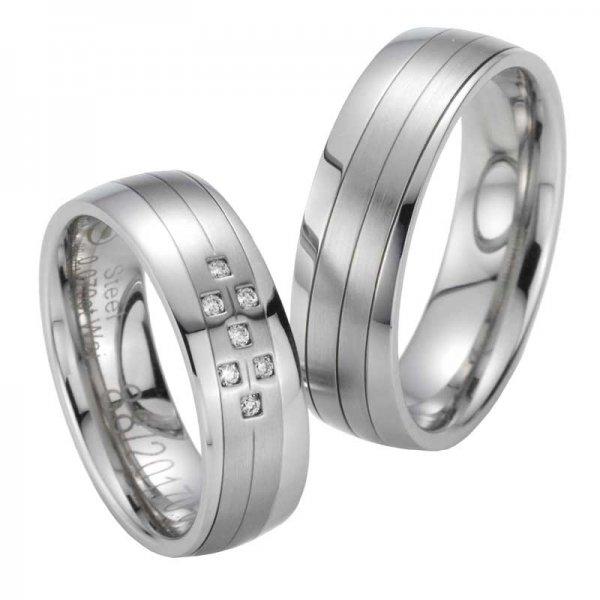 Snubní prsteny ocelové s diamanty ST20170