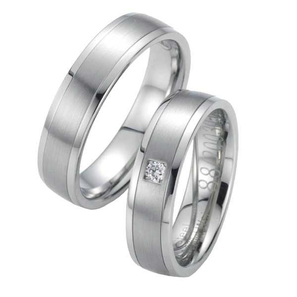 Snubní prsteny ocelové s diamantem ST20030