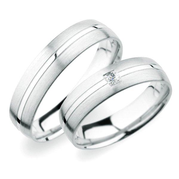 Snubní prsteny z bílého zlata SP-249B