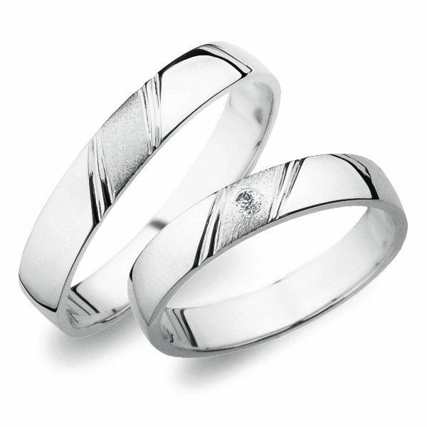 Snubní prsteny z bílého zlata SP-258B
