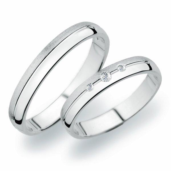 Snubní prsteny z bílého zlata SP-252B