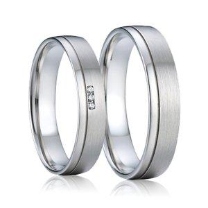 Ocelové snubní prsteny se zirkony SP-7009
