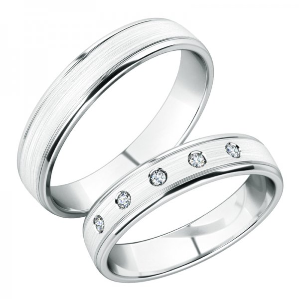 Snubní prsteny z bílého zlata SP-251B