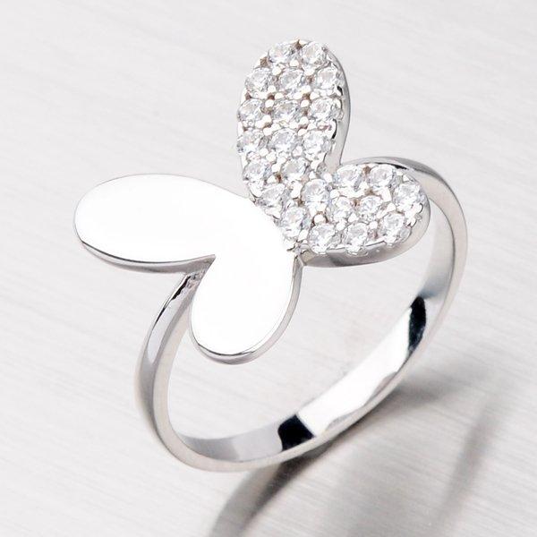 Stříbrný prsten s motýlem AALR0678-RD-FCZ