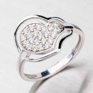 Stříbrný prsten ve tvaru srdce AALR0527-RD-FCZ