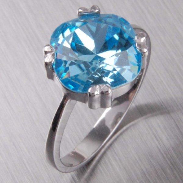 Stříbrný  prsten s krystalem 6T1225M