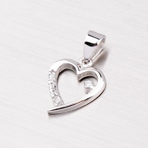 Srdce z bílého zlata se zirkony 43-2495