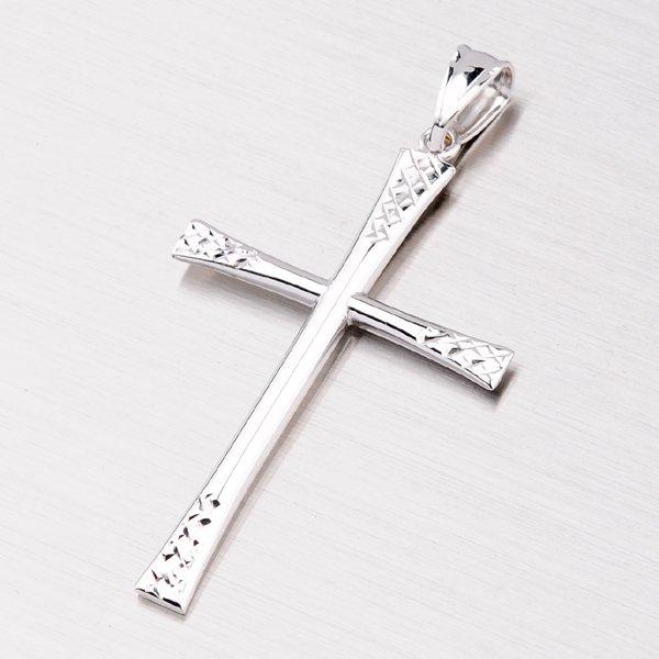 Přívěsek z bílého zlata - křížek 43-2768