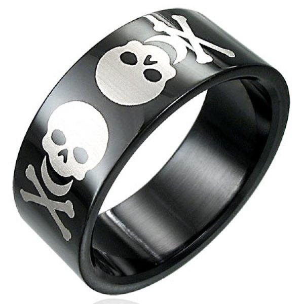 Pánský prsten s lebkami GERB033