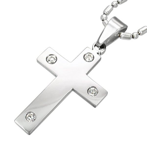 Přívěsek - kříž z oceli se zirkony GLPN015