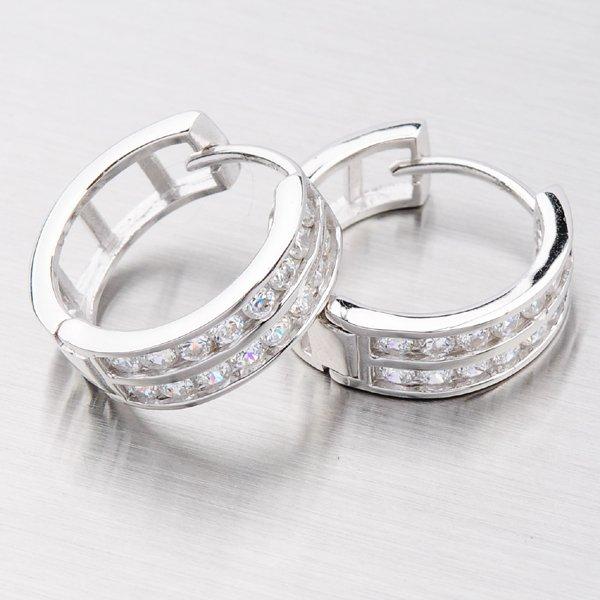 Stříbrné kruhy se zirkony MTE6683A