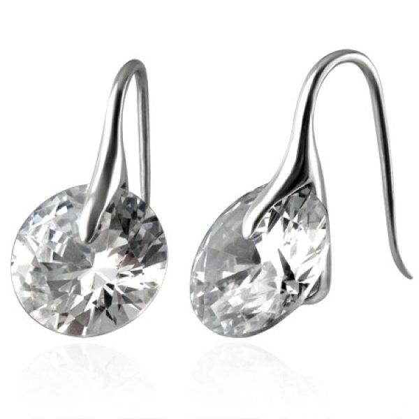 Ocelové náušnice s krystaly GOEM012