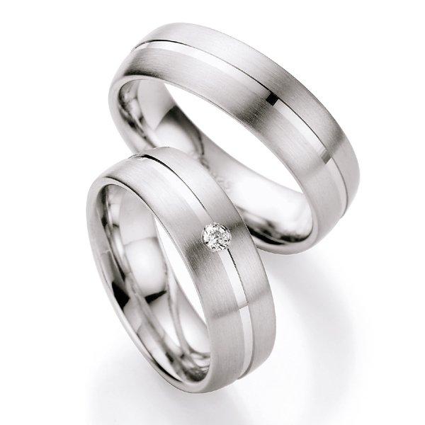 Stříbrné snubní prsteny s diamantem S222