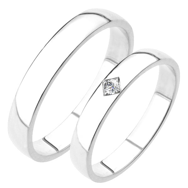 Snubní prsteny bílé zlato SP-204B