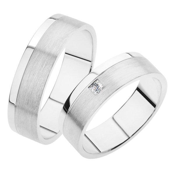 Snubní prsteny bílé zlato SP-241B