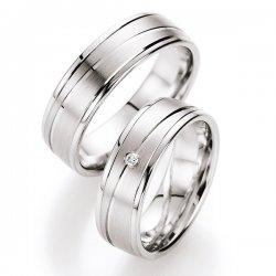 Snubní prsteny stříbrné s diamantem S10050