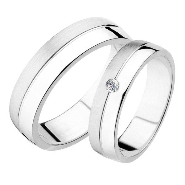 Snubní prsteny bílé zlato SP-238