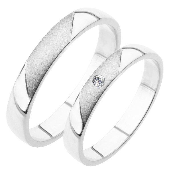 Snubní prsteny bílé zlato SP-207