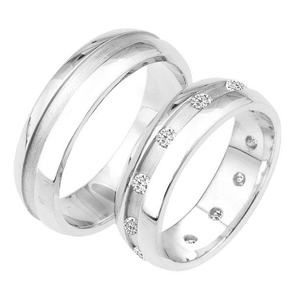 Snubní prsteny bílé zlato SP-224