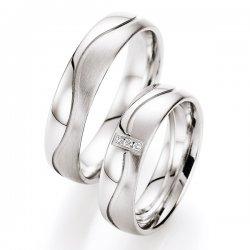 Snubní prsteny stříbrné s diamantem S10010 S10010