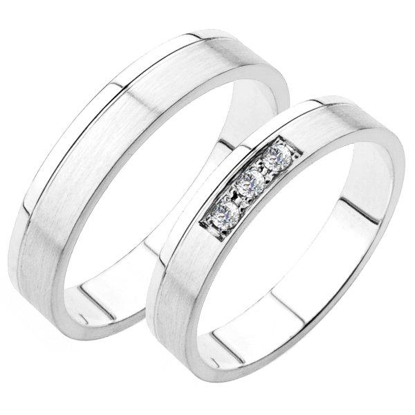 Snubní prsteny bílé zlato SP-227