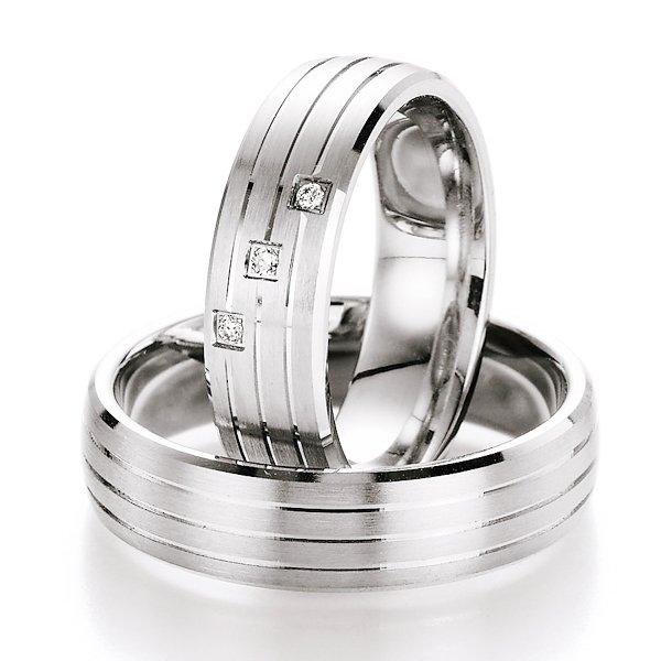 Snubní prsteny stříbrné s diamantem S10070