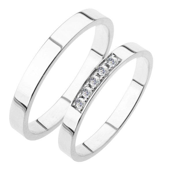 Snubní prsteny bílé zlato SP-217
