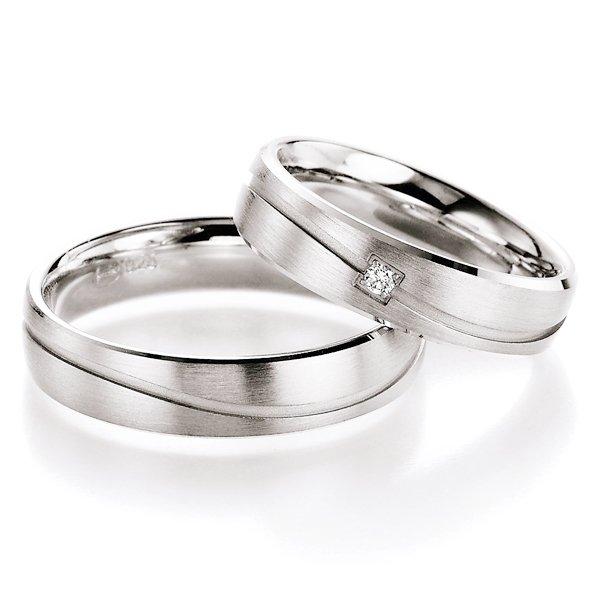 Snubní prsteny stříbrné s diamantem S10150