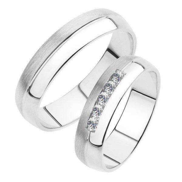 Snubní prsteny z bílého zlata SP-240B