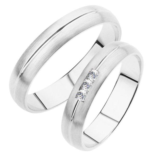 Snubní prsteny z bílého zlata SP-239B