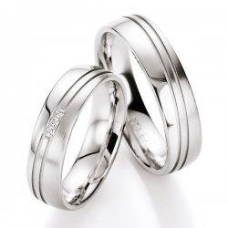 Snubní prsteny stříbrné s diamantem S10110