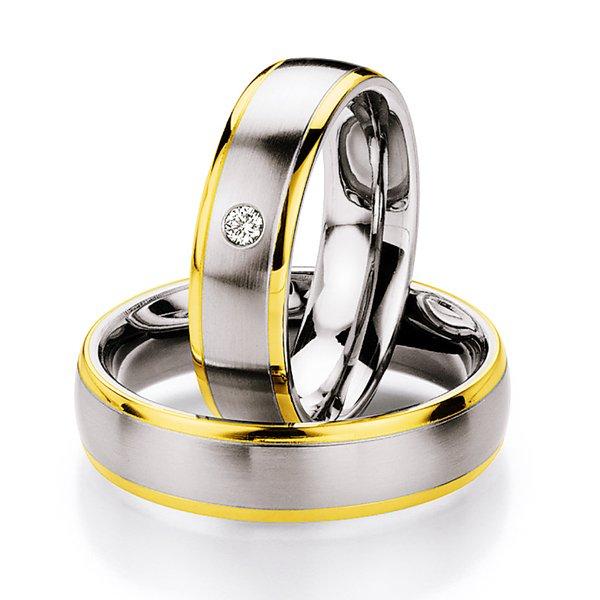Ocelové snubní prsteny se zlatem a diamantem ST130