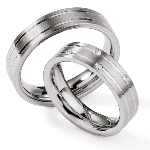 Ocelové snubní prsteny s diamanty ST126