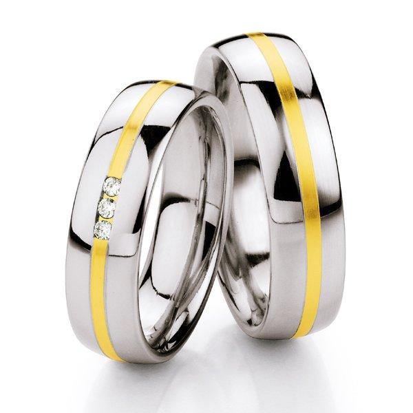 Ocelové snubní prsteny se zlatem a diamanty ST132