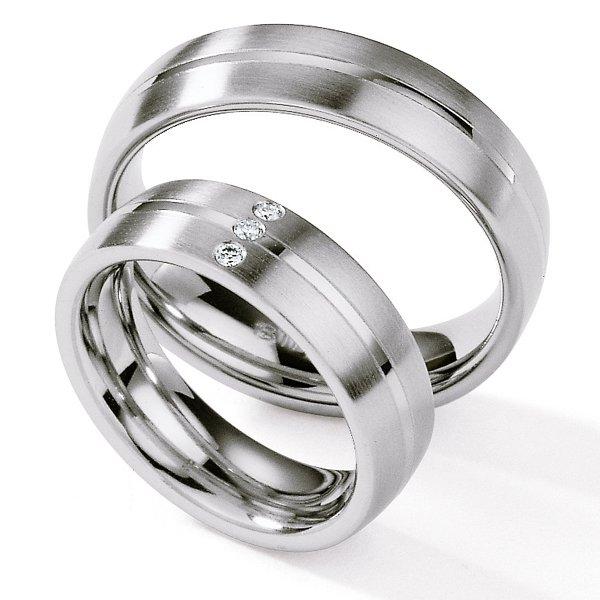 Ocelové snubní prsteny s diamanty ST125
