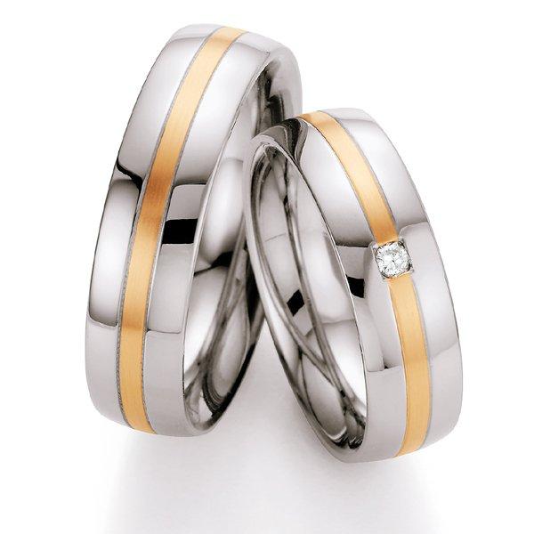 Snubní prsteny z oceli se zlatem a diamantem ST137