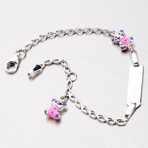 Stříbrný náramek s růžovými medvídky X3STB3812-III/7-RD