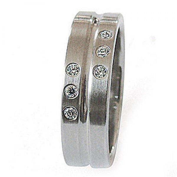 Ocelový prsten se zirkony ZSQ06118