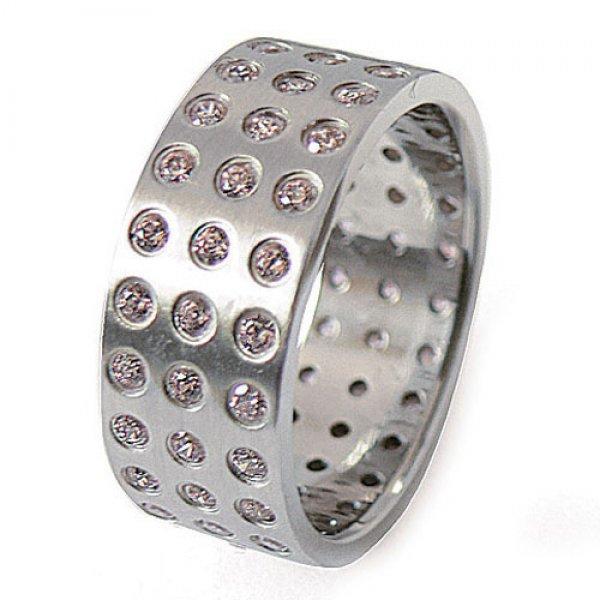 Ocelový prsten se zirkony ZSQ08003