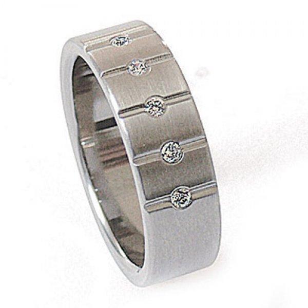 Ocelový prsten se zirkony ZSQ06009