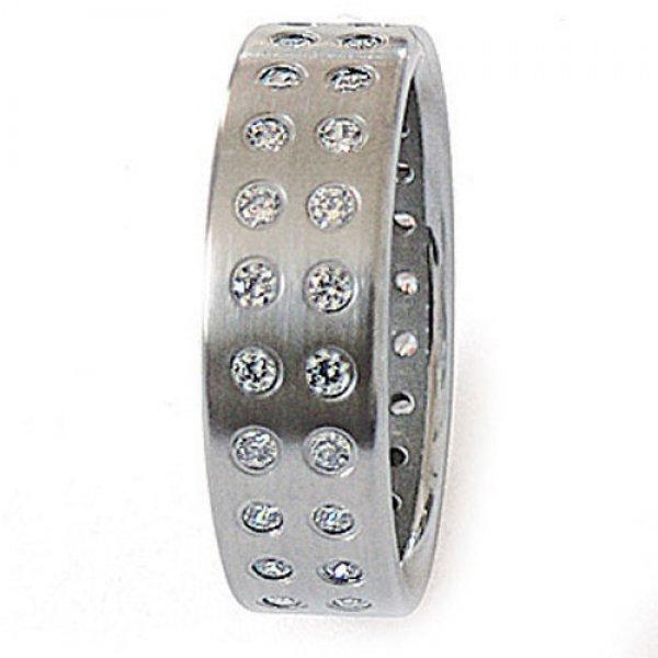 Ocelový prsten se zirkony ZSQ06002