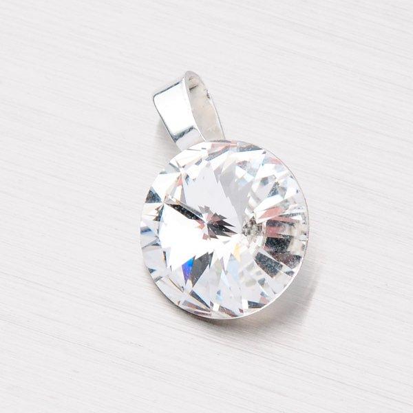 Stříbrný přívěsek s bílým krystalem 12 mm D113B-JK