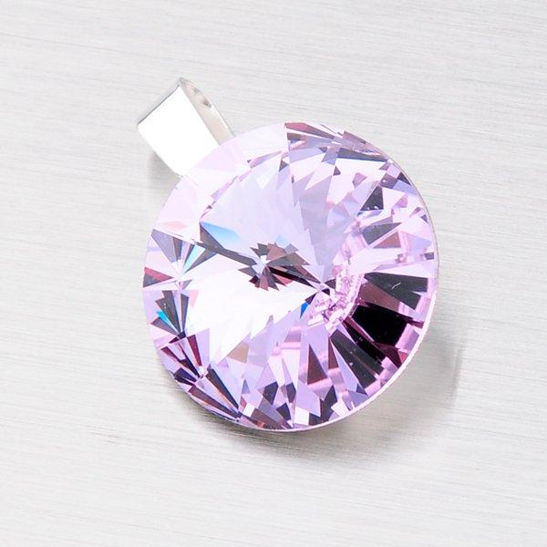 Stříbrný přívěsek s fialovým krystalem 14 mm D132F-JK