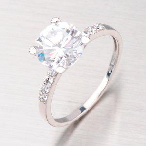 Prsten z bílého zlata se zirkony GZ2417B