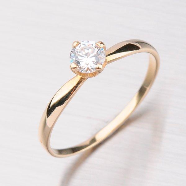 Prsten ze žlutého zlata se zirkonem GZ2365