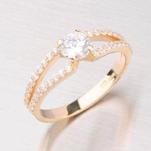 Prsten ze žlutého zlata se zirkony GZ2358